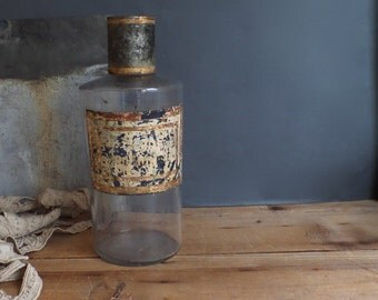 Antique large French Apothecary bottle   Pharmacy glass jar  Tole cap