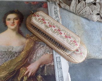 Vintage brush for clothes  Covered with fabric  Madame de Pompadour