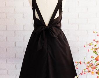 Black dress Black party dress Black prom dress Black cocktail dress Black Bridesmaid dresses Little black dress Black Bow Dress