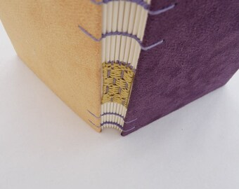 Purple, yellow, journal, Coptic, woven spine, notebook, faux suede