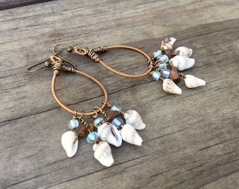 GUITAR STRING EARRINGS -  seashell earrings - bronze/copper, shell, brown and light blue - for teens and adults - recycled/eco-friendly/upcy