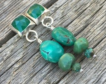 Emerald and Turquoise Sterling Silver Earrings, Turquoise dangle earrings, Emerald Chalcedony earrings,