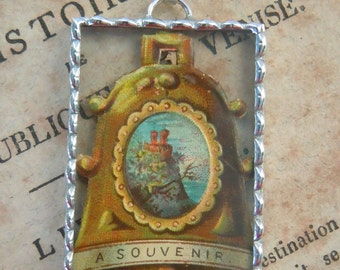 Fiona & The Fig - Victorian - Die Cut Scrap - Bell- Soldered Charm - Necklace - Pendant-Jewelry