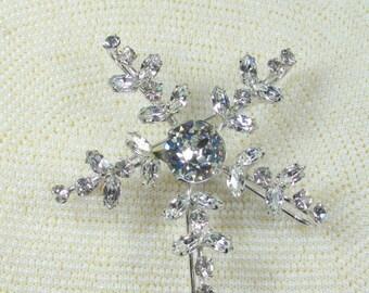 Sale Pre Holliday Vintage Huge Snowflake Signed Weissco, Clear Rhinestone Snowflake Brooch Pin