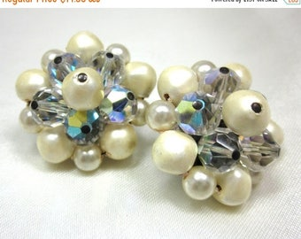 ON SALE Vintage AB Crystal Glass and Pearl Cluster Earrings, Molded Faux Pearl, Beads, Lever Back