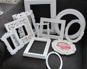 Lot 11 Vintage Shabby White Ornate Open Picture Frames  Romantic Cottage Wedding FREE SHIP