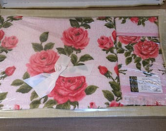 Vintage Cannon Bath Face Towel Washcloth Pink Roses Set NOS