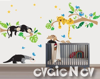 Children Nursery Wall Decals - Animals of South America  - Marmoset Monkeys, Jaguar, Armadillo, Blue Macaw and Anteater - PLSA020
