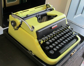 Vintage Portable Manual Typewriter - Underwood Golden Touch Universal Typewriter - Stunning Yellow Typewriter with Case - Made in U.S.A.