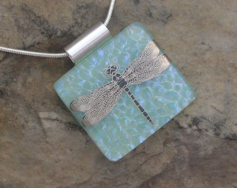 Dragonfly Necklace Fused Dichroic Glass Dragonfly Jewelry