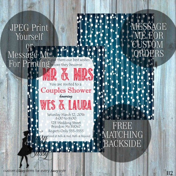Couples Shower Invitation, Couples Wedding Shower Invitation, Engagement party Invitation 112