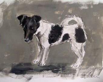 Smooth fox terrier dog, original ink & paint on paper