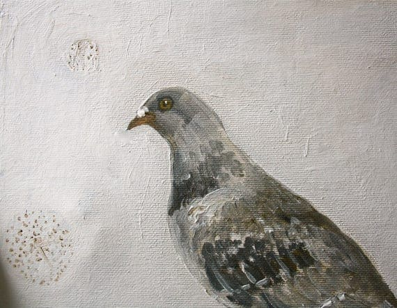 "Pigeon & seed heads painting 6"" X 8"""