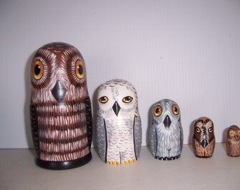 Hand painted Owl Collection stacking nesting doll set