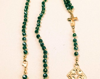 Emerald Rosary Necklace, Silk Knotted Rosary with Emerald Czech Renaissance Beads and Gold Artisan Crosses by Rockstar Cowgirl