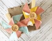 Bohemian Vibes Wood Button Pinwheel Clothes Pins Set of 2