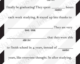 Graduation Mad Libs, Instant Download, Ad Lib, College, High School, Grad, Printable, Fill in the Blank, Decoration, Favor, DIY, Party, 2017
