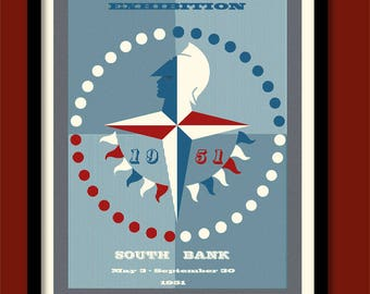 Festival of Britain Poster . Mid Century print A2 size 1950s wall art London poster