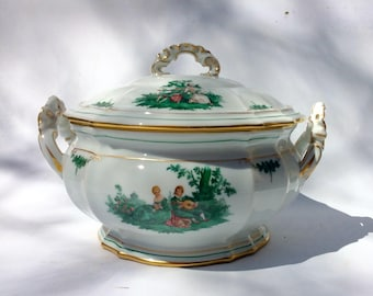 Antique Large German Porcelain Round Tureen w/Lid- Furstenburg  Porcelain - Watteau Pattern -Elegant Home Decor