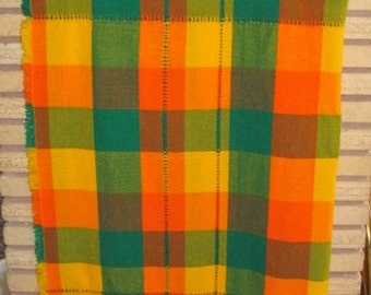 Vintage 70's Preppy Mod Shamrock Green, Goldenrod and Orange Plaid Lap Blanket - Kitchen Tablecloth - 44 x 47.5 - Cabin - Throw Blanket