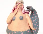 Sweet Pink Haired Cutie Mermaid Gourd Sculpture ooak