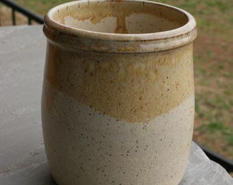 Pottery Utensil Holder White Glaze NC Pottery