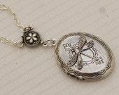 ON SALE Silver Locket,Locket,Jewelry Gift,Silver Dragonfly Locket,Silver Chain,Locket Necklace,Wedding Necklace