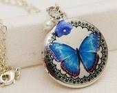 ON SALE Silver Locket,Locket,Blue Butterfly,jewelry gift,Blue Flower,Pearl,Photo Locket,Flower,Silver Chain,Wedding Necklace
