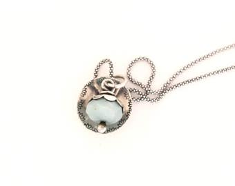 Double-Sided handstamped dandelion and flower sterling silver necklace with amozonite pendant