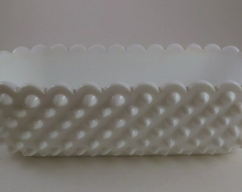 Vintage Planter, Oval Milk Glass Hobnail with Scalloped Edge Planter, Flower Container or Cache Pot