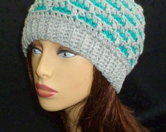 Crochet Slouch Hat, Slouchy Beanie, Slouch Hat, Slouch Hat, Slouchy Hat - Light Grey and Teal