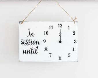 Business Sign, Will Return In Session Clock Sign, Spa Sign, Custom Sign, Store Sign, Salon Signs, Hanging Business Sign, Wood Welcome Sign