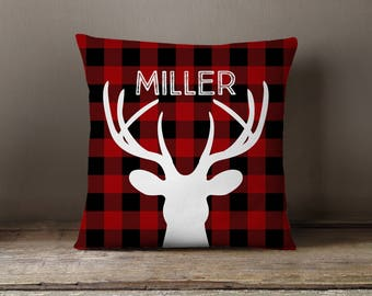 Kids Pillow, Nursery Pillow, Holiday Decor, Pillow Cover, Cabin, Buffalo Check, Deer, Personalized, Check, RV, Lumberjack, Farmhouse Style