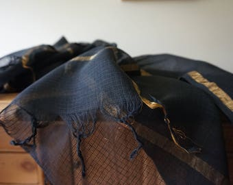 Womens Scarf Black and Gold Scarf Kota Doria Cotton Handwoven Shipping Included in the U.S.