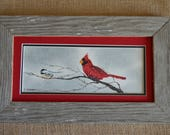 Chickadee and a Cardinal on a branch (Framed) 4x8