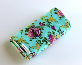 Large Cotton Jersey Knit Baby Swaddle/Receiving Blanket - Girl - Chartreuse Purple Floral on Aqua Green