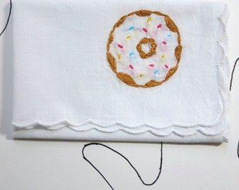 Hand Stitched Donut Embroidery Food Embroidery Donut Gift Stocking Stuffer