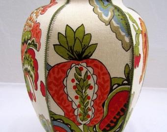 Tomato Olive fabric ginger jar vase Asian red green blue floral botanic