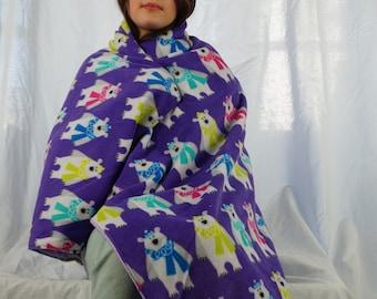 Purple polar bear fleece blanket, throw blanket, lap blanket