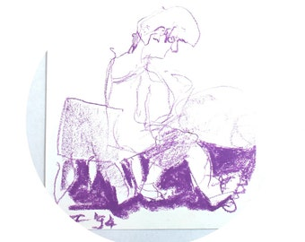 purple oil pastel- figure on chair- 1994 art for the home- original drawing- OOAK gift