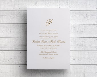 Gold Monogram Wedding Invitation, Simple Gold Wedding Invitation, Formal Wedding, Gold Foil, Gold Invite, Formal Invitation, Printed