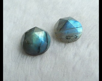 Labradorite Faceted Gemstone Cabochon Pair,18x11mm,9.4g
