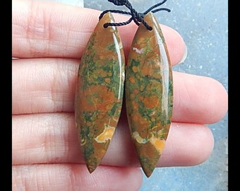 Rainforest Jasper Earring Bead,42x13x6mm,8.3g