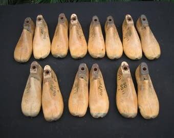 Seven pair Children's wooden shoe lsts