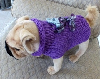 "Dog Sweater Hand Knit xxsmall Pugglet 11"" long"