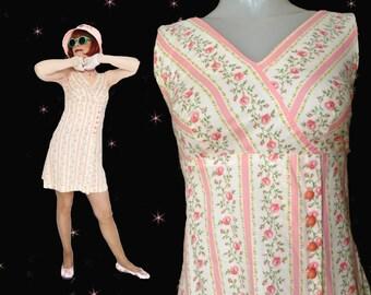 Hi Waist Dress is a Short Cotton Dress, 60s Mod Mini for Women or Teen Girls, a Pink Summer Skimmer in a Sweet Pink Floral