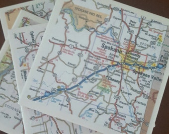 Washington State Map Coasters...Featuring Spokane...Set of 4...1/4 Inch Cork Bottoms