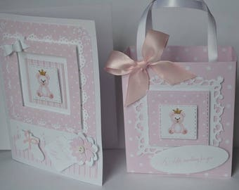 PInk baby girl bag and card