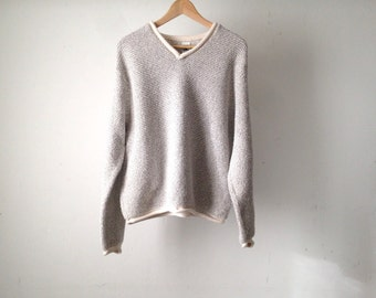 vintage grunge faded GREY slouchy v-neck NIRVANA 90s vintage sweater rolled cuffs collar
