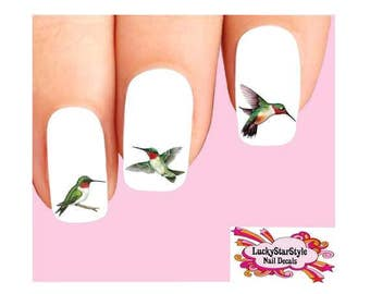 Waterslide Bird Nail Decals Set of 20 - Ruby-Throated Hummingbird Assorted